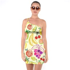 Cute Fruits Pattern One Soulder Bodycon Dress