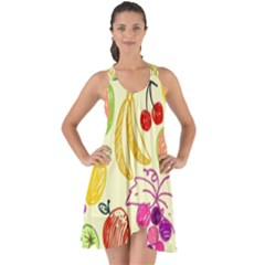 Cute Fruits Pattern Show Some Back Chiffon Dress by paulaoliveiradesign