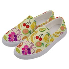 Cute Fruits Pattern Men s Canvas Slip Ons by paulaoliveiradesign