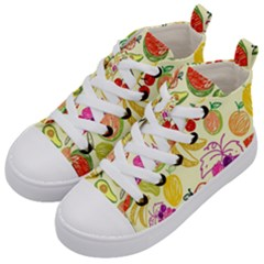 Cute Fruits Pattern Kid s Mid Top Canvas Sneakers by paulaoliveiradesign