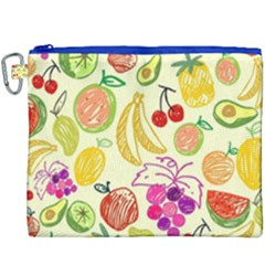 Cute Fruits Pattern Canvas Cosmetic Bag (xxxl) by paulaoliveiradesign
