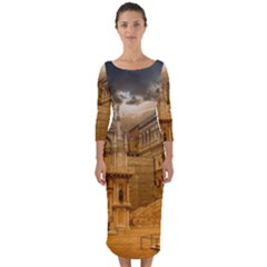 Palace Monument Architecture Quarter Sleeve Midi Bodycon Dress