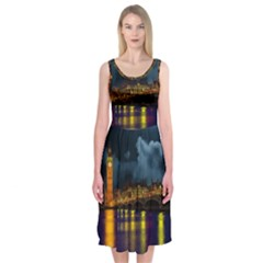 London Skyline England Landmark Midi Sleeveless Dress