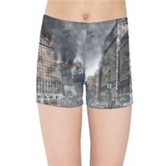 World War Armageddon Destruction Kids Sports Shorts