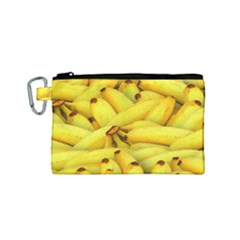 Yellow Banana Fruit Vegetarian Natural Canvas Cosmetic Bag (small) by Celenk
