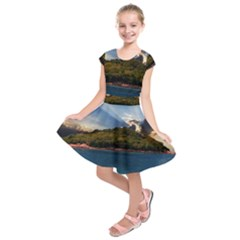 Island God Rays Sky Nature Sea Kids  Short Sleeve Dress by Celenk