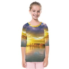 Landscape Lake Sun Sky Nature Kids  Quarter Sleeve Raglan Tee