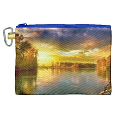 Landscape Lake Sun Sky Nature Canvas Cosmetic Bag (xl) by Celenk