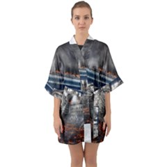 Destruction City Building Quarter Sleeve Kimono Robe by Celenk