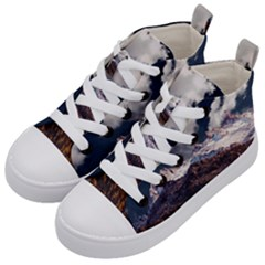 Mountain Sky Landscape Hill Rock Kid s Mid Top Canvas Sneakers by Celenk
