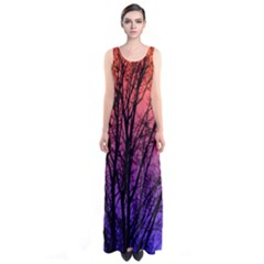 Ombre Trees Sleeveless Maxi Dress
