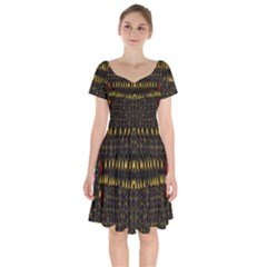 Hot As Candles And Fireworks In The Night Sky Short Sleeve Bardot Dress by pepitasart