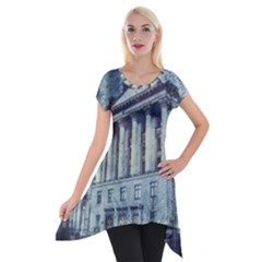 Storm Rain Lightning Weather Short Sleeve Side Drop Tunic by Celenk