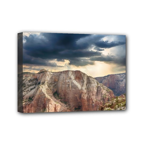Nature Landscape Clouds Sky Rocks Mini Canvas 7  X 5