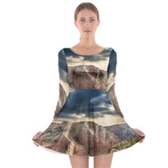 Nature Landscape Clouds Sky Rocks Long Sleeve Skater Dress