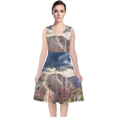 Nature Landscape Clouds Sky Rocks V Neck Midi Sleeveless Dress