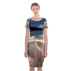 Nature Landscape Clouds Sky Rocks Classic Short Sleeve Midi Dress by Celenk
