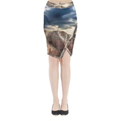 Nature Landscape Clouds Sky Rocks Midi Wrap Pencil Skirt