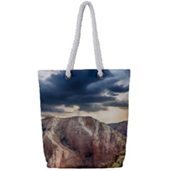 Nature Landscape Clouds Sky Rocks Full Print Rope Handle Tote (small)