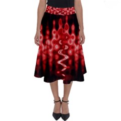 Red And Black Wave Pattern Perfect Length Midi Skirt