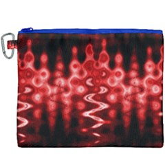 Red And Black Wave Pattern Canvas Cosmetic Bag (xxxl) by Celenk