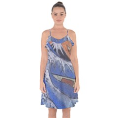 Harvard Mayfair Hokusai Chalk Wave Fuji Ruffle Detail Chiffon Dress