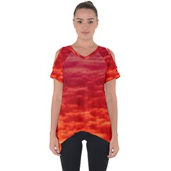 Red Cloud Cut Out Side Drop Tee