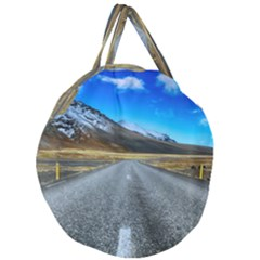 Road Mountain Landscape Travel Giant Round Zipper Tote