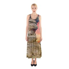 Rocks Landscape Sky Sunset Nature Sleeveless Maxi Dress by Celenk