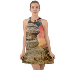 Rocks Landscape Sky Sunset Nature Halter Tie Back Chiffon Dress by Celenk