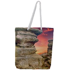 Rocks Landscape Sky Sunset Nature Full Print Rope Handle Tote (large)