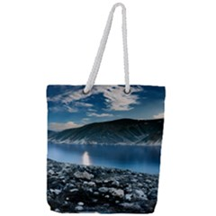 Shore Mountain Water Landscape Full Print Rope Handle Tote (large)