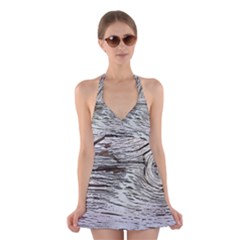 Wood Knot Fabric Texture Pattern Rough Halter Dress Swimsuit