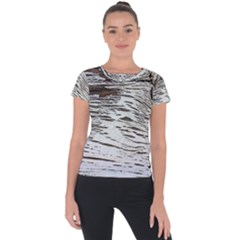 Wood Knot Fabric Texture Pattern Rough Short Sleeve Sports Top