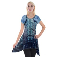 Storm Weather Thunderstorm Nature Short Sleeve Side Drop Tunic