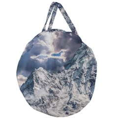 Mountain Snow Winter Landscape Giant Round Zipper Tote