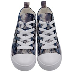 Mountain Snow Winter Landscape Kid s Mid Top Canvas Sneakers