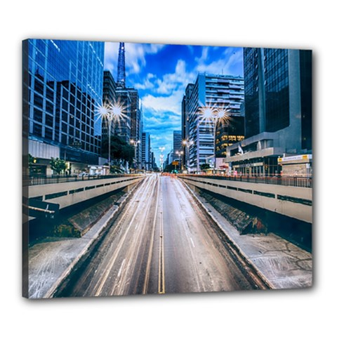 Urban Street Cityscape Modern City Canvas 24  X 20