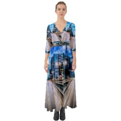 Urban Street Cityscape Modern City Button Up Boho Maxi Dress