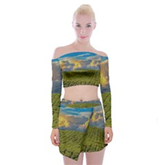 Sunrise Hills Landscape Nature Sky Off Shoulder Top With Mini Skirt Set by Celenk