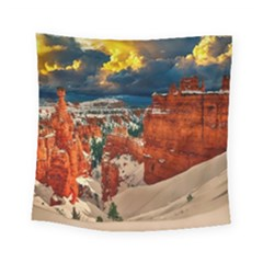 Snow Landscape Winter Cold Nature Square Tapestry (small) by Celenk