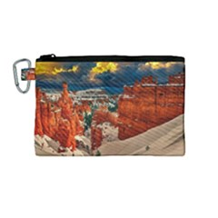 Snow Landscape Winter Cold Nature Canvas Cosmetic Bag (medium)