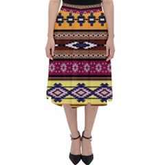 Colorful Tribal Art   Boho Pattern Folding Skater Skirt