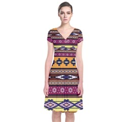 Colorful Tribal Art   Boho Pattern Short Sleeve Front Wrap Dress