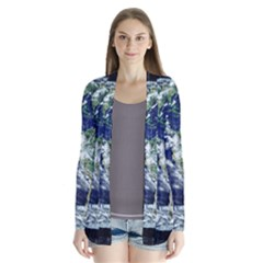 Earth Internet Globalisation Drape Collar Cardigan by Celenk