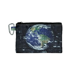Earth Internet Globalisation Canvas Cosmetic Bag (small)
