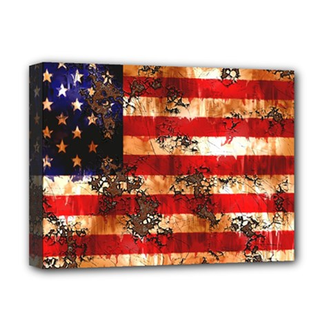 American Flag Usa Symbol National Deluxe Canvas 16  X 12   by Celenk