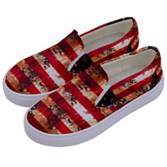 American Flag Usa Symbol National Kids  Canvas Slip Ons by Celenk