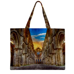 Abbey Ruin Architecture Medieval Zipper Mini Tote Bag by Celenk