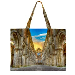 Abbey Ruin Architecture Medieval Zipper Large Tote Bag by Celenk